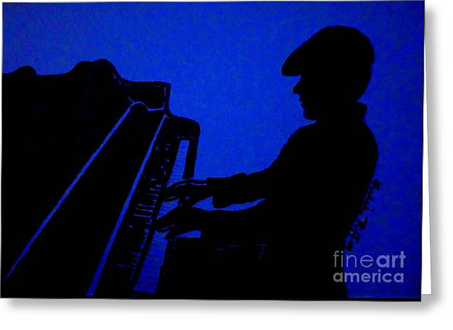 Piano Man Greeting Card by Julie Brugh Riffey