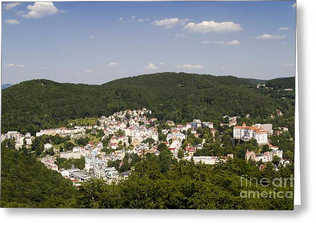 Picturesque Town Greeting Card by David Buffington