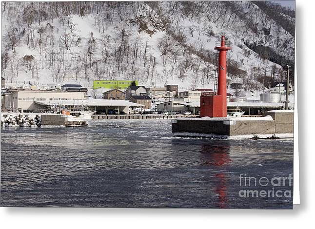 Pier Light At Fishing Port Harbor Greeting Card by Jeremy Woodhouse