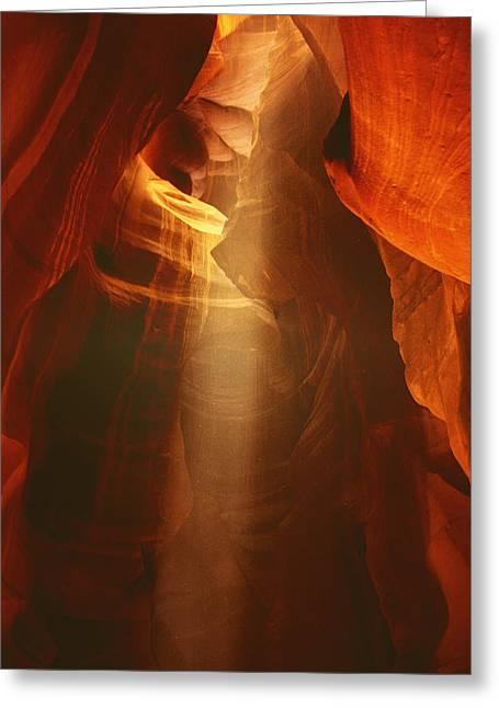 Pillars Of Light - Antelope Canyon Az Greeting Card