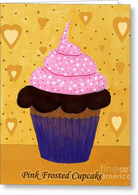 Pink Frosted Cupcake Greeting Card by Barbara Griffin