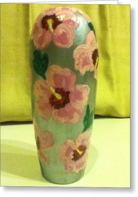 Pink Hibiscus Greeting Card by Berta Barocio-Sullivan