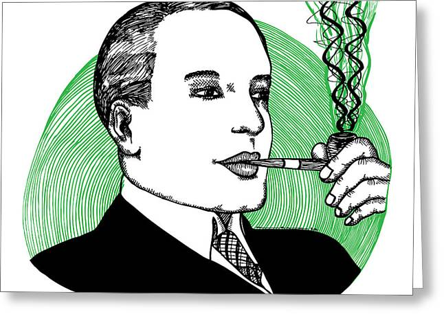 Pipe Smoking Greeting Card by Karl Addison