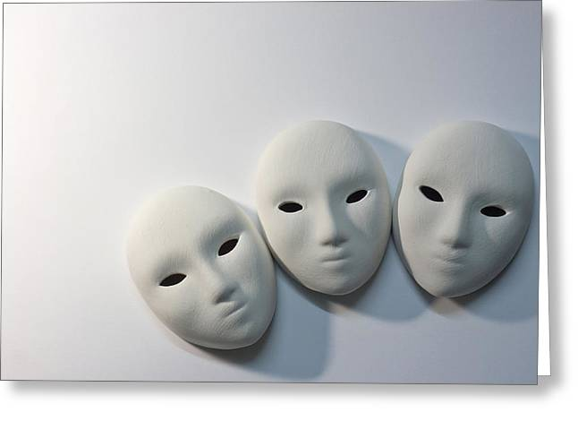 Plaster Masks In Studio Greeting Card by Kantapong Phatichowwat