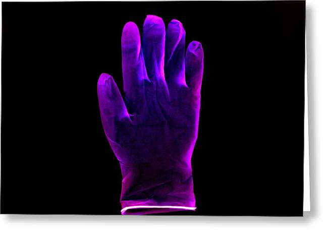 Plastic Glove, Negative Image Greeting Card by Kevin Curtis