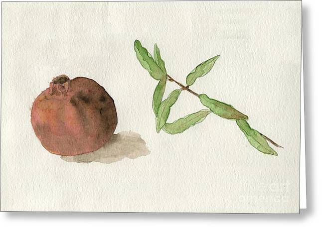 Greeting Card featuring the painting Pomegranate  by Annemeet Hasidi- van der Leij