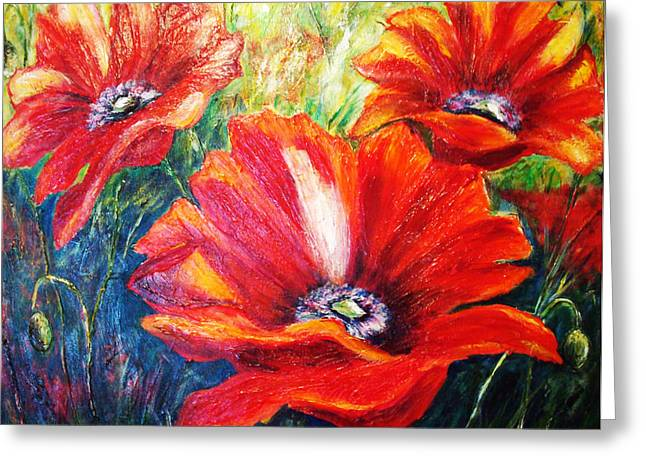 Poppy Flowers In Bloom Greeting Card