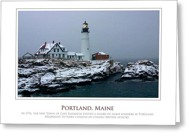 Portland Headlight Greeting Card by Jim McDonald Photography