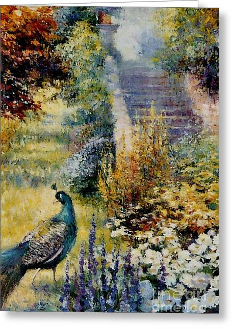 Powys Castle Garden Peacock. Greeting Card