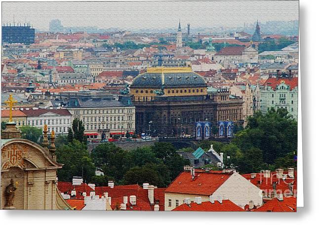 Prague Skyline Greeting Card by Pravine Chester