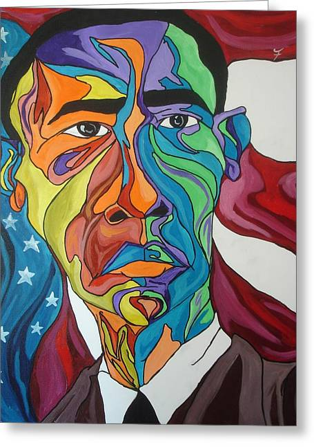 President Obama Greeting Card by Jason JaFleu Fleurant