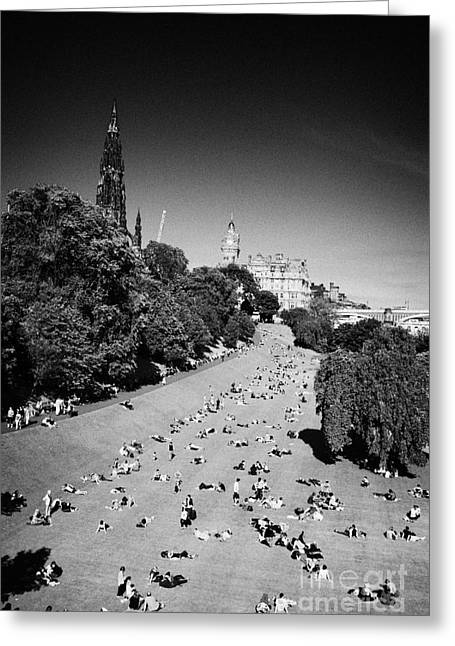 Princes Street Gardens On A Hot Summers Day In Edinburgh Scotland Uk United Kingdom Greeting Card by Joe Fox