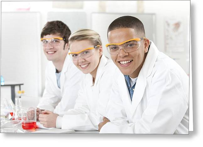 Pupils In A Science Lesson Greeting Card by