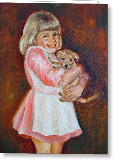 Puppy Love Greeting Card by Holly LaDue Ulrich