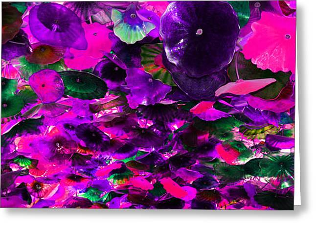 Purple Pink And Green Glass Flowers Greeting Card