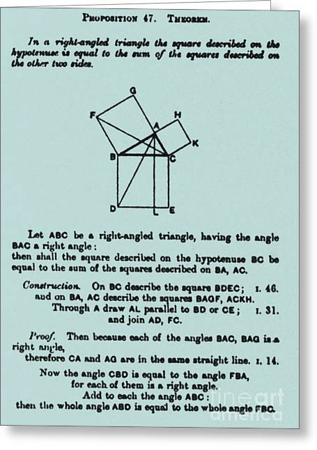Pythagorean Theorem In English Greeting Card by Science Source