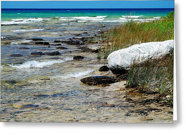Quiet Waves Along The Shore Greeting Card by Janice Adomeit