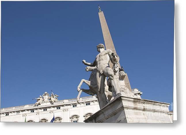 Quirinal Obelisk In Front Of Palazzo Del Quirinale. Rome Greeting Card by Bernard Jaubert