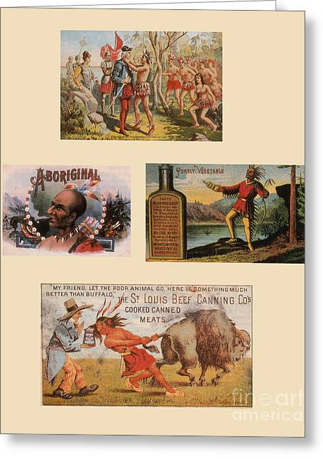 Racist Advertisements Featuring Native Greeting Card by Photo Researchers