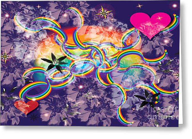 Rainbow Space Greeting Card by Kim Prowse