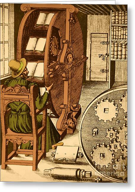 Ramellis Reading Wheel Greeting Card by Photo Researchers