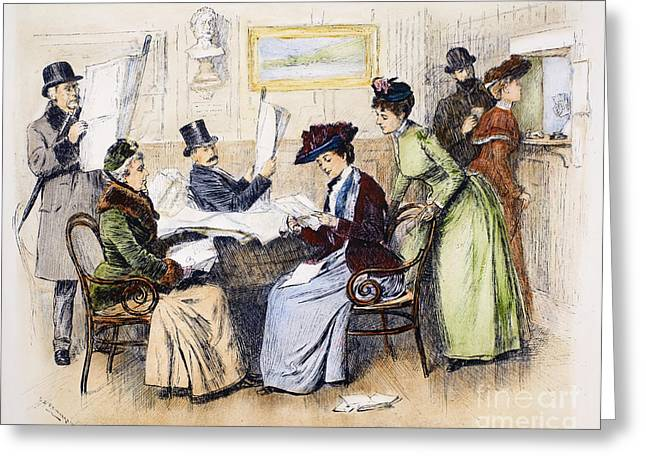 Reading Letters, 1890 Greeting Card