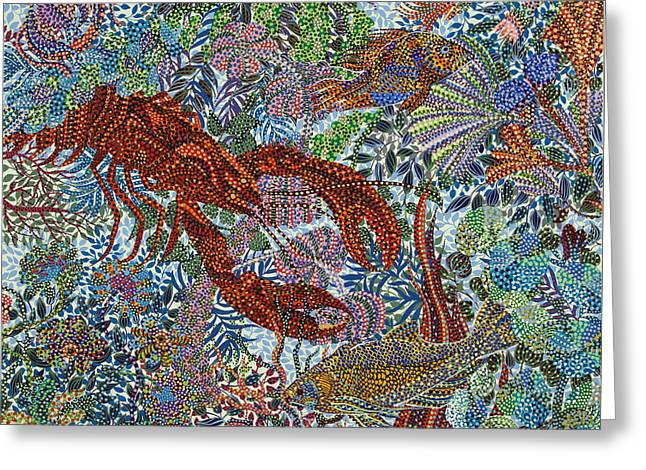 Nature Greeting Cards - Red Lobster Greeting Card by Erika Pochybova