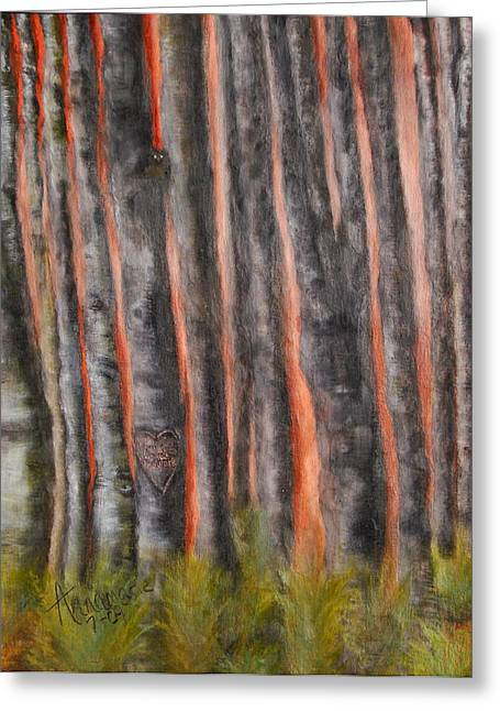 Greeting Card featuring the painting Red Moon Night by Annamarie Sidella-Felts