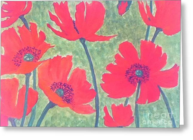 Red Poppies Greeting Card by Berta Barocio-Sullivan