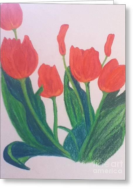 Red Tulips Greeting Card by Berta Barocio-Sullivan