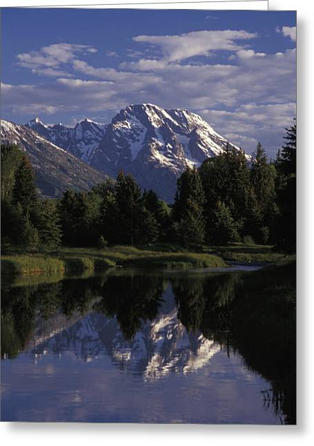 Reflection Of The Teton Mountans Greeting Card by Richard Nowitz