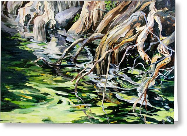 Greeting Card featuring the painting Reflections 2 by Rae Andrews