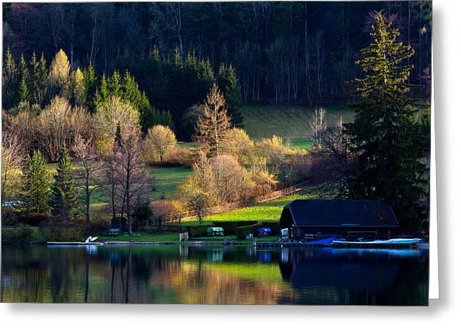 Reflex On Fushl Lake Salzburg Austria Greeting Card by Arthit Somsakul