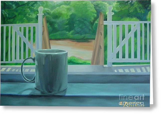 Greeting Card featuring the painting Relaxing By Cooper River by Diana Riukas