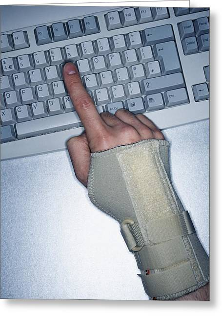 Repetitive Strain Injury Greeting Card by Lawrence Lawry