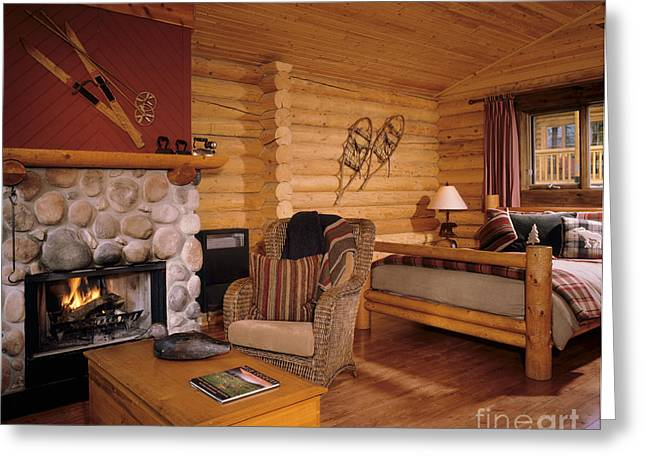 Resort Log Cabin Interior Greeting Card by Robert Pisano