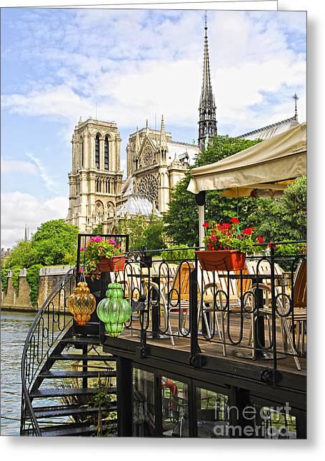 Restaurant On Seine Greeting Card by Elena Elisseeva