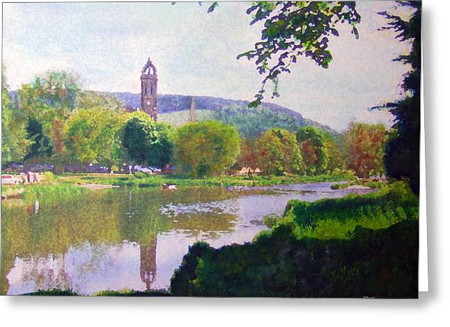 Greeting Card featuring the painting River Walk Reflections Peebles by Richard James Digance
