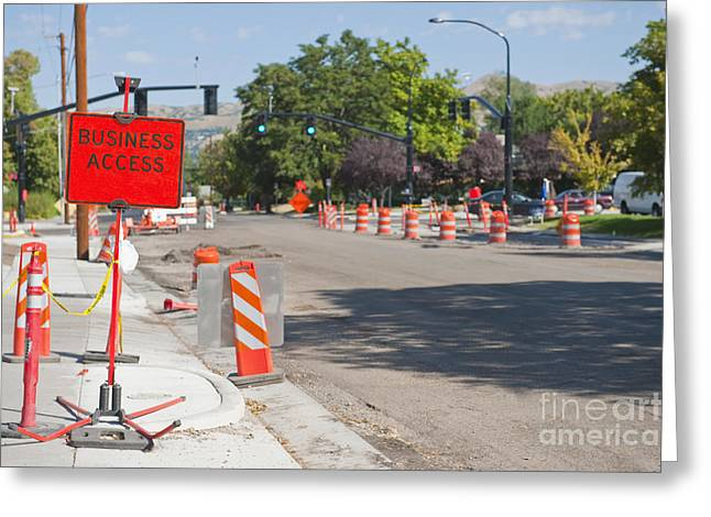 Road Construction On City Street Greeting Card