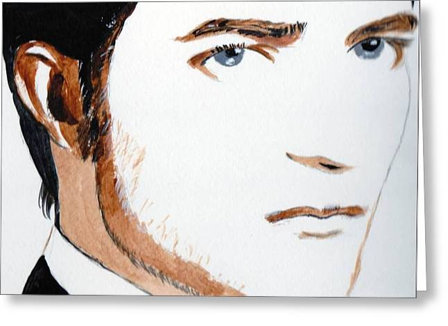 Greeting Card featuring the painting Robert Pattinson 3 by Audrey Pollitt