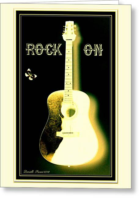 Rock On Guitar Greeting Card by Danielle  Parent