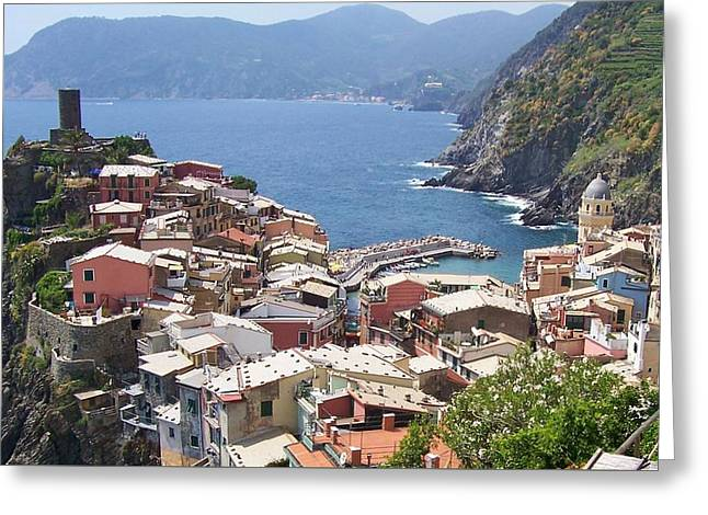 Rooftops Of Vernazza Cinque Terre Italy Greeting Card by Marilyn Dunlap