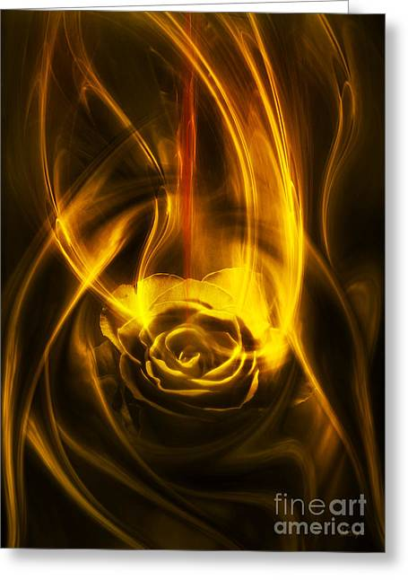 Greeting Card featuring the digital art Rose With Red Flow by Johnny Hildingsson
