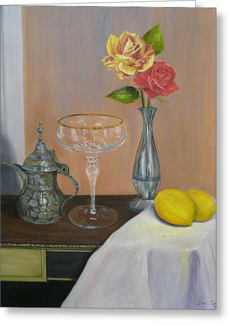 Roses And Lemons Greeting Card by Sue Taylor