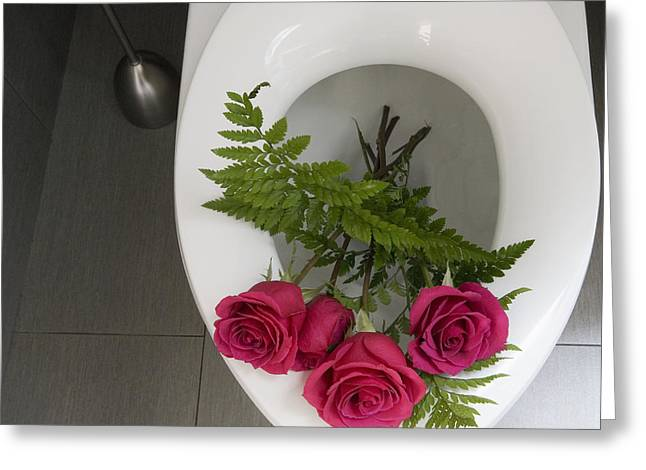 Roses In A Toilet Greeting Card