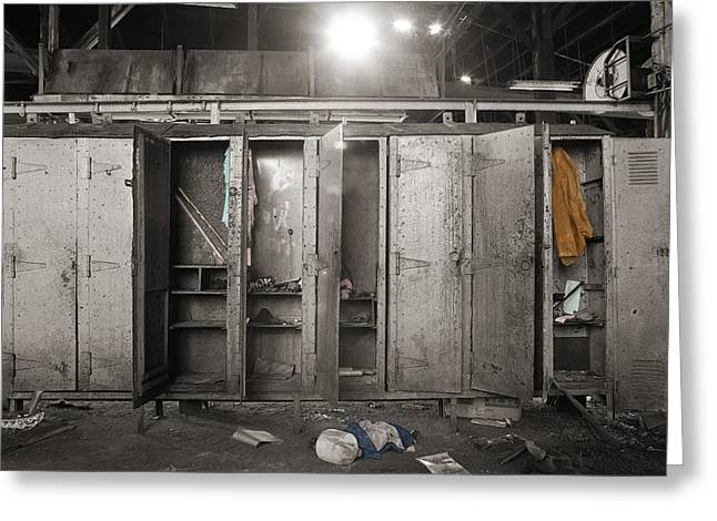 Roundhouse Lockers Greeting Card by Jan W Faul