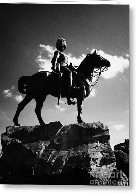 Royal Scots Greys Boer War Monument In Princes Street Gardens Edinburgh Scotland Uk United Kingdom Greeting Card by Joe Fox