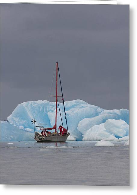 Sail Boat In Laguna San Rafael, Laguna Greeting Card by Peter Langer