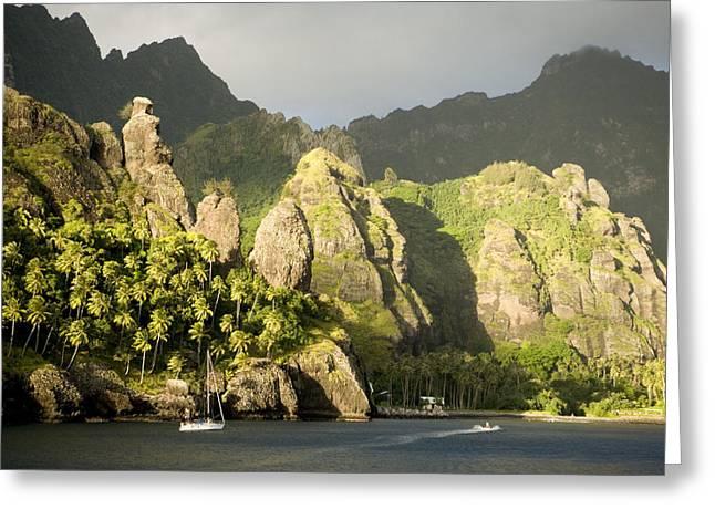 Sailboat On Bay Of Virgins, Fatu Hiva Greeting Card
