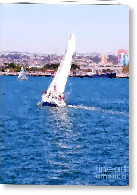 Sailing In San Diego Bay Greeting Card by David Bearden